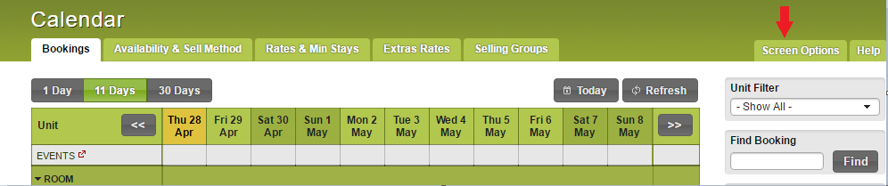 booking calendar with events row paint